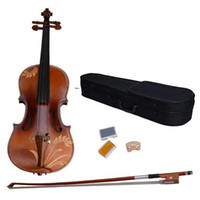 Wholesale 1 Acoustic Violin with Carved Pattern Case Bow Rosin DH Natural