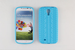 Wholesale Newest soft tread tyre tire track Silicone Rubber back Case Cover Cases for SamSung Galaxy S4 i9500