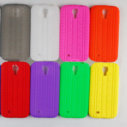 Wholesale 100 soft tread tyre tire track Silicone Rubber back Case Cover Cases for SamSung Galaxy S4 i9500