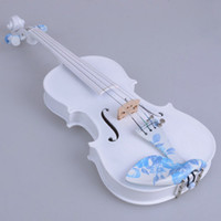 Wholesale 1 Acoustic Violin with Blue Decorative Pattern Case Bow Rosin DS White
