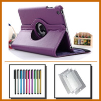 Wholesale 50pcs Rotating Leather Case Cover For ipad mini Screen Protector Film Stylus Pen
