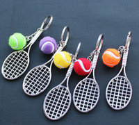 Wholesale 3D tennis amp Tennis racket Sports Model key chain keyring Many colors to choose