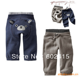 Wholesale 5pcs Children boy s Loop material long pant with bear design grey amp navy blue trousers why852