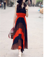 Round Ankle Length Sheath 1pc Elegant Boho Bohemian Chiffon Pleated Stripes Summer Beach Long Maxi Dress 70420