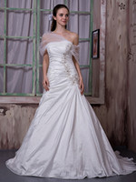 Cheap New fashion Stretch Satin Beads Appliques Ruffle A-line Lace-up Court Train Wedding Dresses