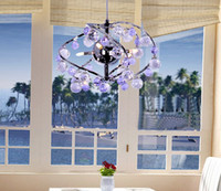 Wholesale New Modern Minimalist Art Purple K9 Crystal Chandelier Dining Room Living Room Pendant Lamp Dia cm