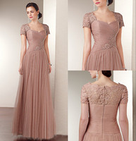 Wholesale Exqusite Scoop Applique Sequin Tulle A line Sweep Train Zipper Mother Of the Bride Dresses