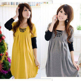 Wholesale Most Fashion and Beautiful Pregnant Dresses Maternity Long sleeve cotton Clothing yellow gray