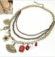 Women's Fashion Necklaces Vintage Big Imitated Diamond Fan Flower Heart Pendants Necklace Many Chains Elements Necklace Lady J