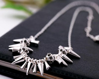Wholesale Vintage punk spikes necklace women renegade cluster necklace gold silver plating with crystal balls