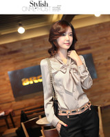 Wholesale New Fashion Women Shirt Long Sleeves Collar Tie Bowknot AC Cardigan Apricot Wine Red AMY