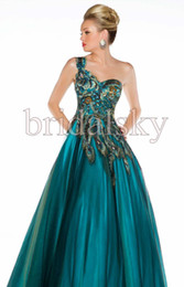 Wholesale One Shoulder Peacock Appliques crystals Tulle A Line Floor length Prom Gowns Evening Dresses