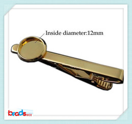 Beadsnice high quality 18K gold plated tie clip for men handmade tie clip with 12mm round cabochon setting 10pcs lot ID 23646