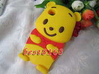 Silicone apples panda - 3D winnie the pooh bear teddy panda Soft silicone gel Case for iphone G th skin cases