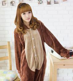 Wholesale cosplay Men Women Brown Chipmunk Costume Kigurumi Animal Hoodies Pajamas Causal Lounge Sleepwear For Adults Welcome