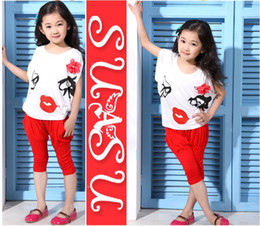 Wholesale Baby suit girl clothes set kids lady relaxation children two piece dress Harem Pants embroidered bat
