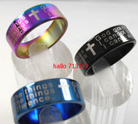 Wholesale 50pcs Stainless steel Serenity Prayer Religious Alcoholics Christian Cross rings Jewelry