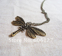 Wholesale Retro Carving Dragonfly Pendant Necklace Animal Jewelry12pcs