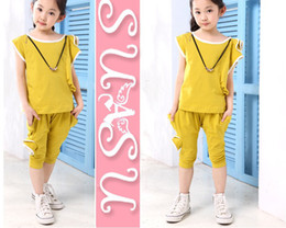 Wholesale Girl suit children clothes set kids One shoulder rose girl short sleeves suit Mr Dyer chiffon
