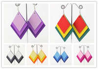 Wholesale 30pairs Fashion overlap diamonds shaped Silver plated wooden chandelier dangle Hook earring jewelry