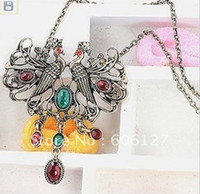 Women's Alloy Fashion Amazing Unique Alloy Two Birds And Multicolor Flower Imitated Diamond Shaped Pendant Necklace