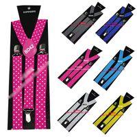 Wholesale Polka Dot Unisex Clip on Adjustable Elastic Y Back Polka Braces suspenders Colors
