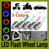 Wholesale Hot colors Car Motorcycle Bicycle Tire Wheel Valve Cap Led Flash Light Lamp pc