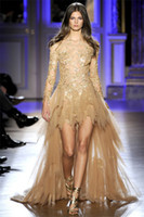 Tulle Long Sleeve Asymmetrical A-Line Gold Lace Tulle Zuhair Murad evening dress with High low and long sleeves