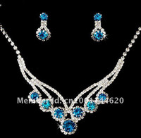 African sapphire bracelet - Crystal Bridal Jewelry Set Earring Necklace Sets Luxury Bridal Party Prom the bride necklace wedding necklace Wedding Jewelry