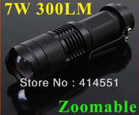 Wholesale 2XMini LED Torch W LM CREE Q5 LED Flashlight Adjustable Focus Zoom flash Light Lamp