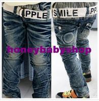 Wholesale Boys Jeans Children baby pants Boy s cotton Jeans Cowboy jeans with Belt trousers dandys