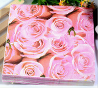 Wholesale Paper Napkins Printing INCH Wedding Party Birthday Paper Napkin Colorful ROSE