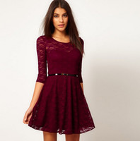 Wholesale 2013 NEW excellent quality European style half sleeve lace dress with belt