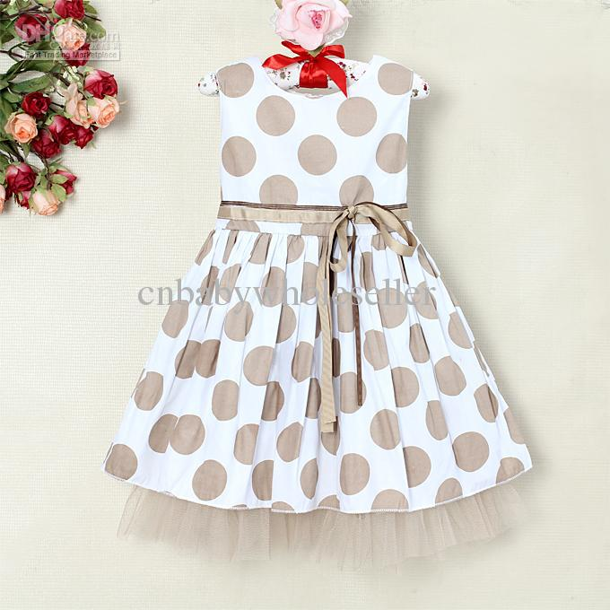 2017 2013 Toddlers Summer Dress Polka Dots 2 Layers Girl Dresses ...