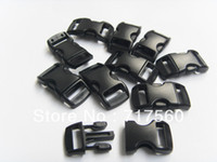 Wholesale 100pcs Curved Black Plastic Buckles For Survival Paracord Bracelets Side Released Slot mm