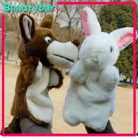 Unisex 5-7 Years as the photos Animal Wolf and Rabbit Plush Stuffed Hand Puppet Child Story Telling Helper Gift and Toys