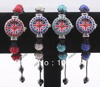 Unisex ball watches uk - 2013 New Shamballa Bracelet Union Jack Watch Crystal Disco Ball Beads UK Flag Wrist Watches Gift