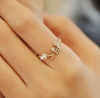 Wholesale Fashion Music Note Diamond Lovely Adjustable Ring Opening Women Fashion Finger Ring SYJ23