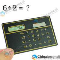 Wholesale Mini Solar Card Calculator Slim Credit Card Solar Power Pocket Calculator Random Color