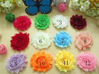 Wholesale Fabric fascinator hair accessories inch frayed chiffon shabby flower rosette lace flowers