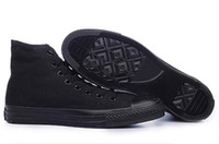 Wholesale New men amp women Canvas Classic Casual Shoes High amp Low Sneakers ALL BLACK