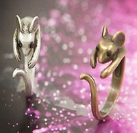Wholesale Vintage Style Cute Little Mouse Ring Colors Cheap Price Fashion Jewelry SYJ29