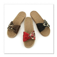 Wholesale order bamboo and cane slipper straw EVA xj043 fiberflax indoor slippers