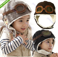 Wholesale New Cute Baby Toddler Boy Girl Kids Pilot Aviator Cap Warm Hats Earflap Beanie