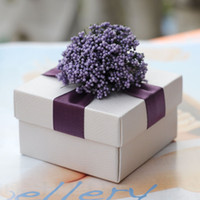 Wholesale Romantic Lavender Paper Candy Boxes Purple Ribbon White Wedding Favors Party Gift Boxes Holders