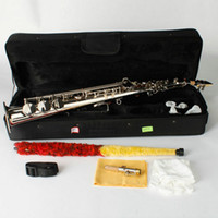 Wholesale Stylish Plated Nickel B flat Straight Soprano Saxophone with Pearl White Shell Buttons