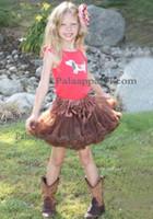 al por mayor muchachas marrones vestidos del desfile-Tutu del vestido de la danza del desfile de la falda del partido de Pettiskirt de Brown para las muchachas de los muchachos 1-9Year de las muchachas del niño plisó el regalo de cumpleaños