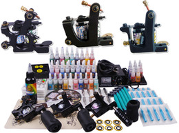 Wholesale Tattoo Kit Machines gun color Inks Power supply needles set equipment TT3