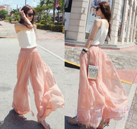 Wholesale Stylish Women s Dockers Wide leg Loose Chiffon Gauze Pants Long GAUCHO Trousers
