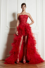 Wholesale 2014 Zuhair Murad Red Evening Dresses Hi Lo Lace Tulle Ruffled Pageant Gowns ZM99 Dhyz